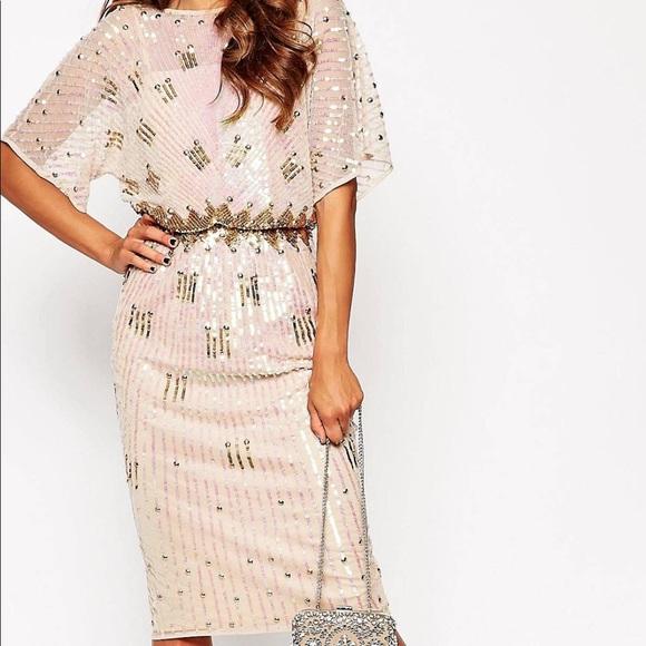 b698e11aa91 ASOS Dresses   Skirts - Asos Midi Red Carpet kimono  Holographic sequins